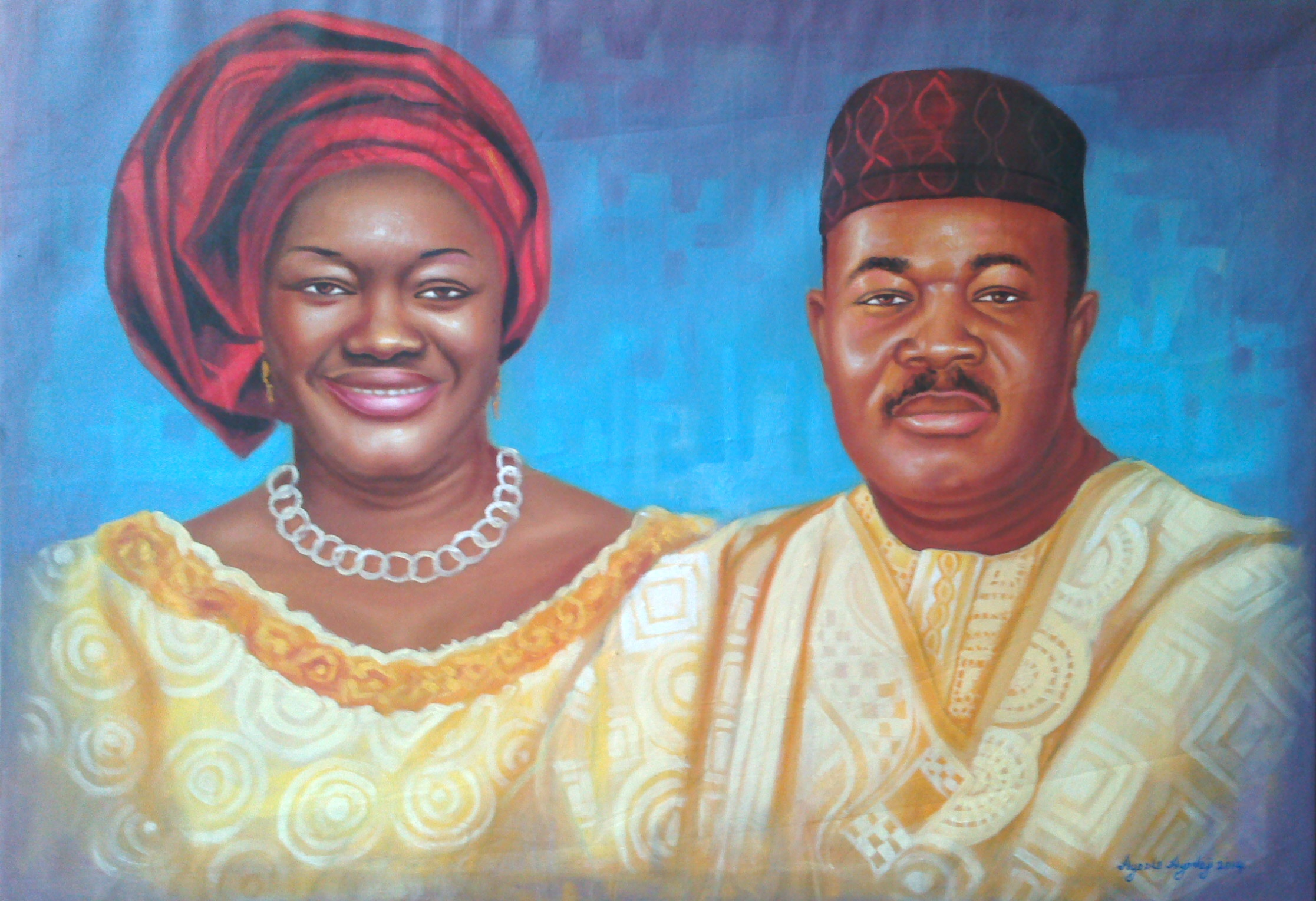 portrait painting of godswill akpabio and wife