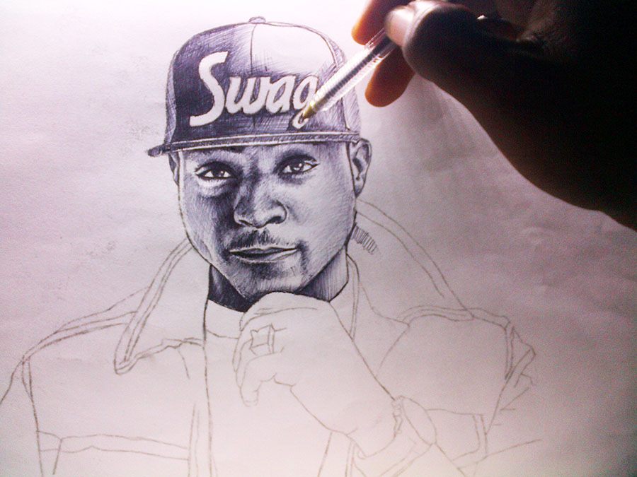 pen drawing of davido by nigeria professional artist