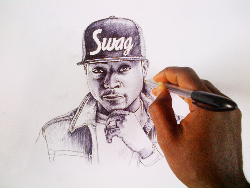 ball pen drawing of davido by nigeria professional artist