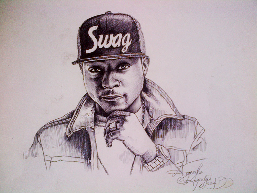 completed ball pen drawing of davido by nigeria professional artist