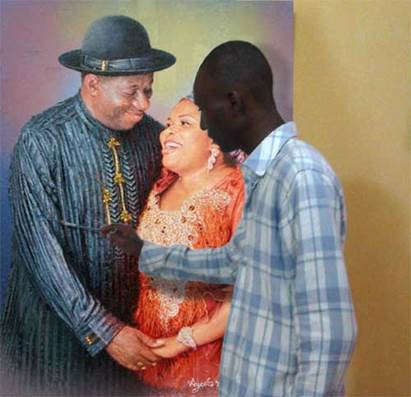 portrait painting artist in lagos nigeria painting the portrait of nigeria president