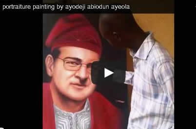 portrait painting artist in lagos nigeria painting a white man
