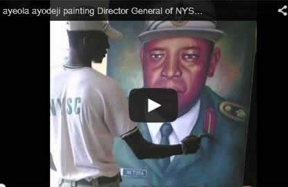 portrait painting artist in lagos nigeria painting the director general of nysc