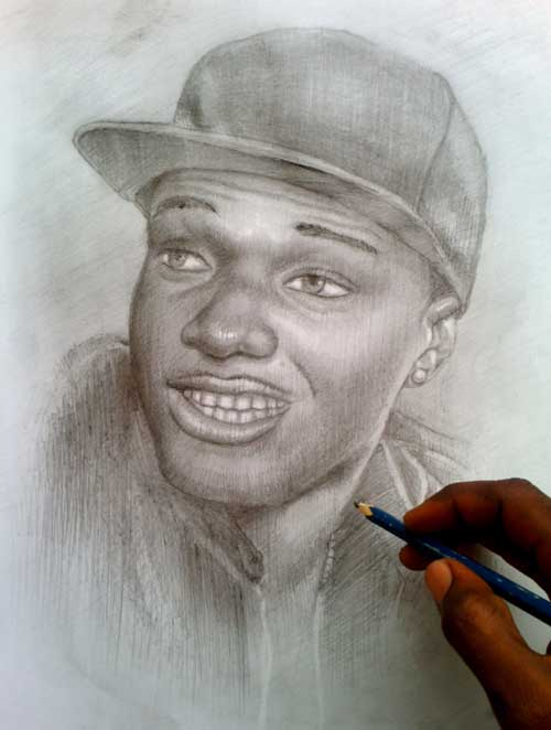 Finishing touches of wizkid pencil drawing