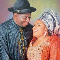 portrait painting of jonathan and wife nigerian president