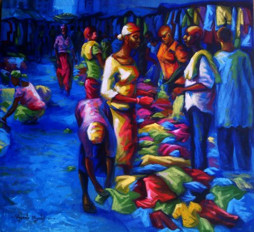 Bend down boutique acrylic on canvas painting by ayeola ayodeji abiodun awizzy