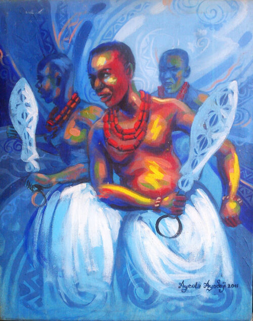 benin royal dance painting by ayeola ayodeji 1000 500x634 fine art painting: visual art and creative art in Nigeria