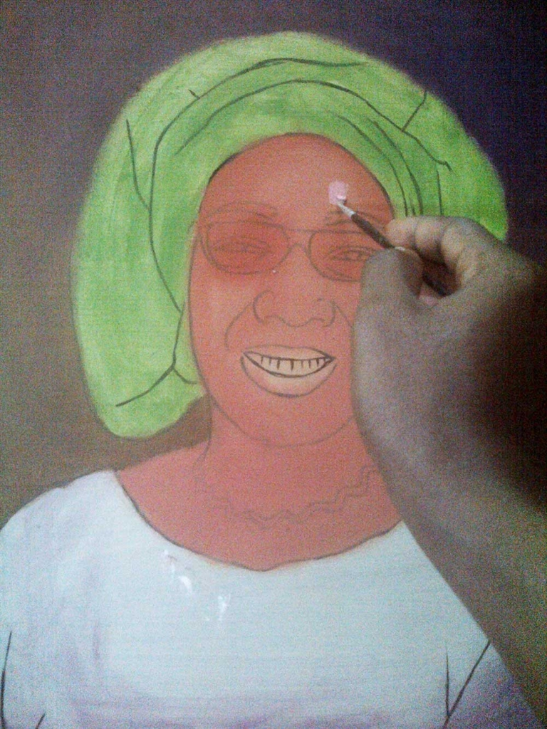 How to paint portrait of Mrs rosaline akinyeye stage 2 768x1024 How to paint portrait of Mrs Rosaline Akinyeye