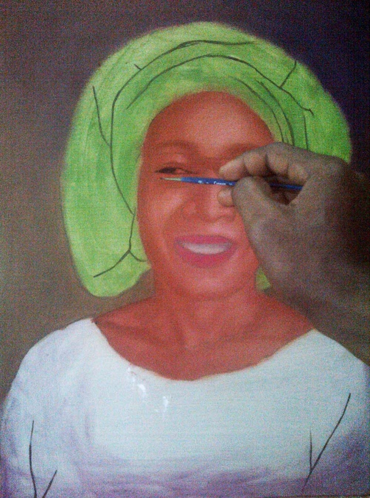 How to paint portrait of Mrs rosaline akinyeye stage 3 762x1024 How to paint portrait of Mrs Rosaline Akinyeye