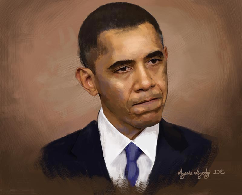 the completed portrait painting of obama by ayeola ayodeji awizzy