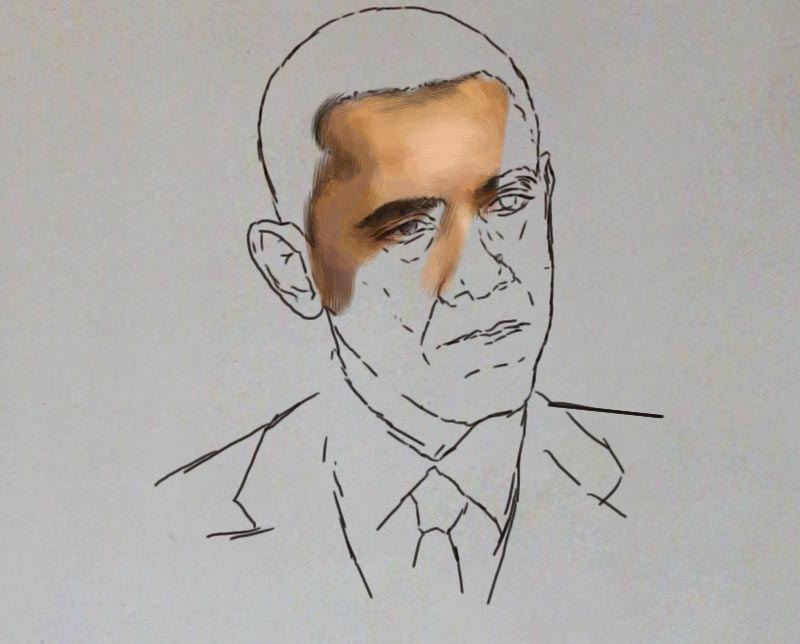 obama painting ayodeji ayeola making 2 Portrait painting of Barack Obama