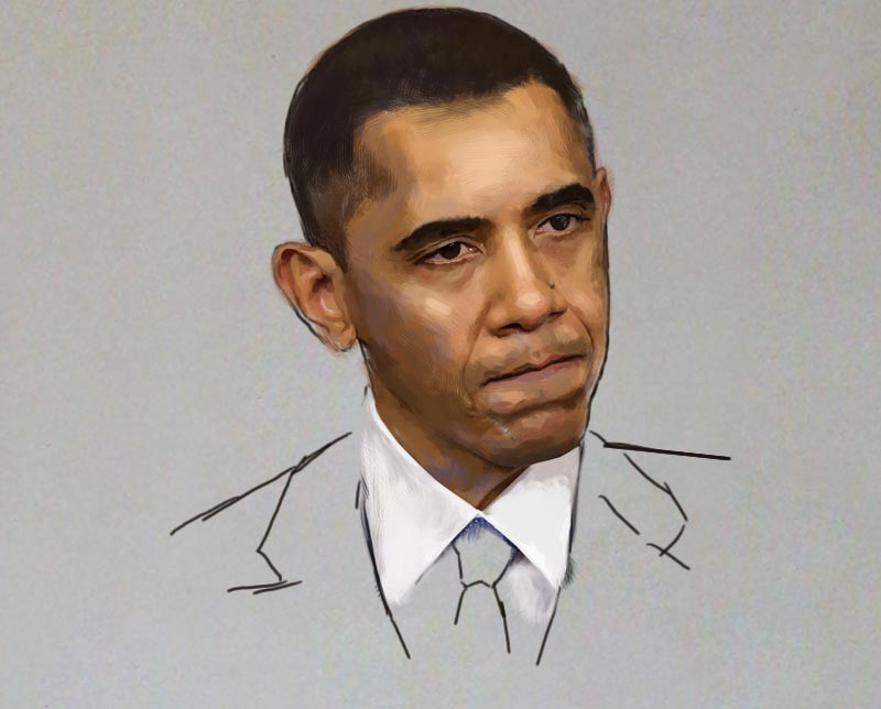 the making portrait painting of obama by ayeola ayodeji awizzy