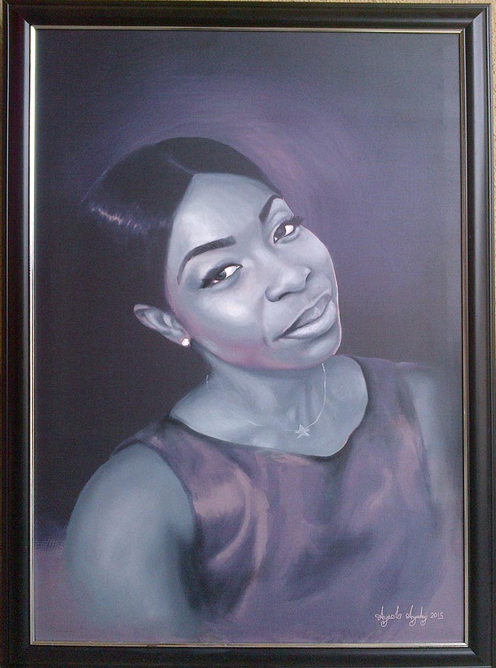 black and white portrait painting by ayodeji ayeola 2 Portrait painting in black and white