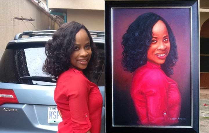 24inches by 36inches portrait-painting lady