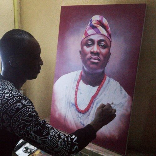 24inches by 36inches portrait painting of yetundes husband 500x500 super realistic portrait paintings by artist ayeola ayodeji