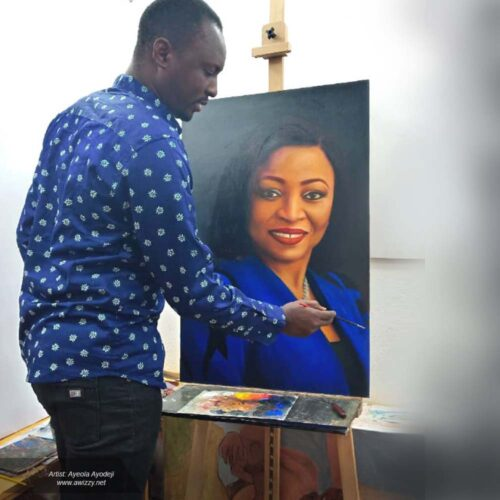 24x36inches portrait painting drawing funsho alakija billionaire 500x500 Artwork paintings from Nigeria Africa
