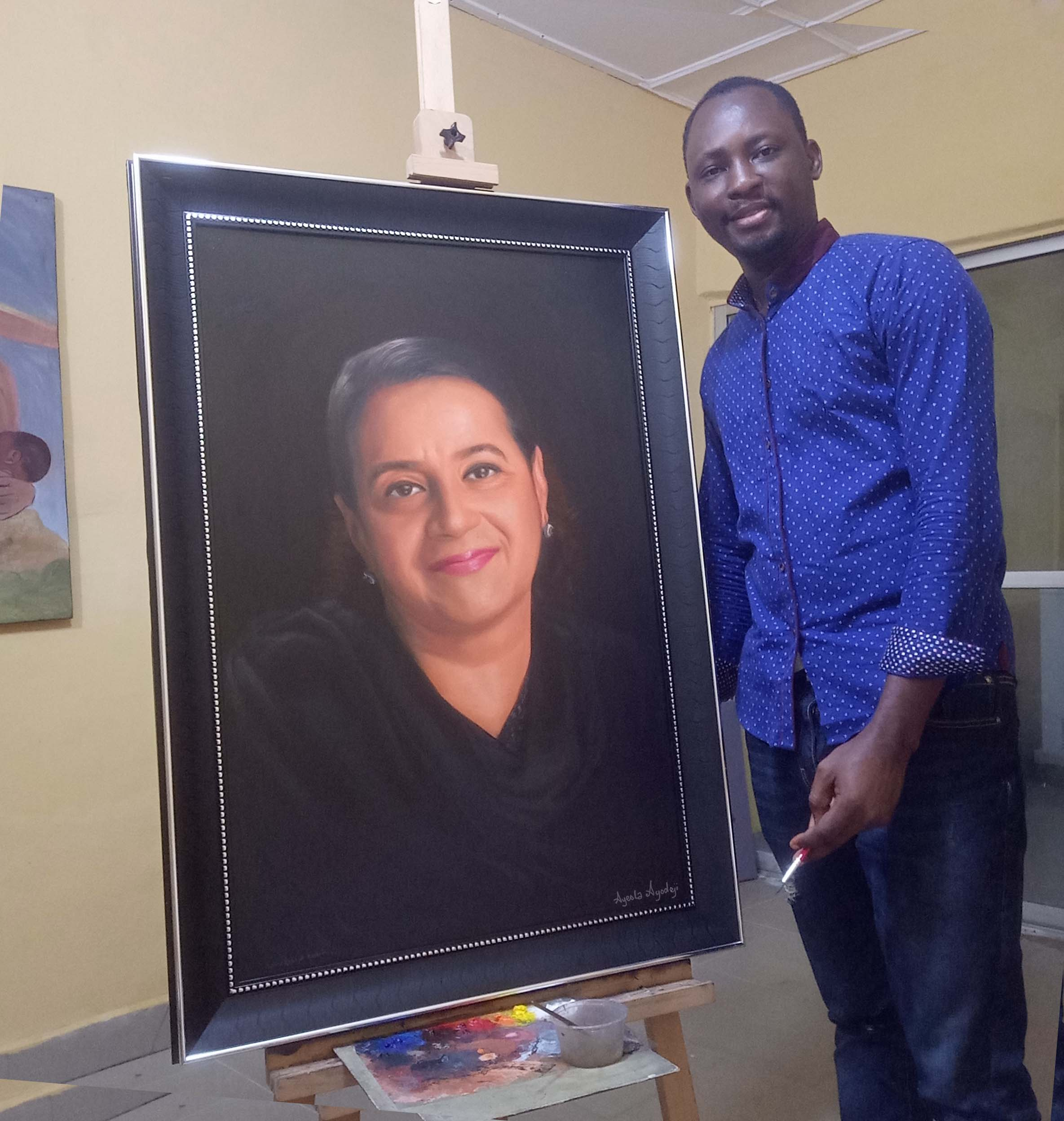 size 24 x 36 inches portrait painting by ayeola ayodeji