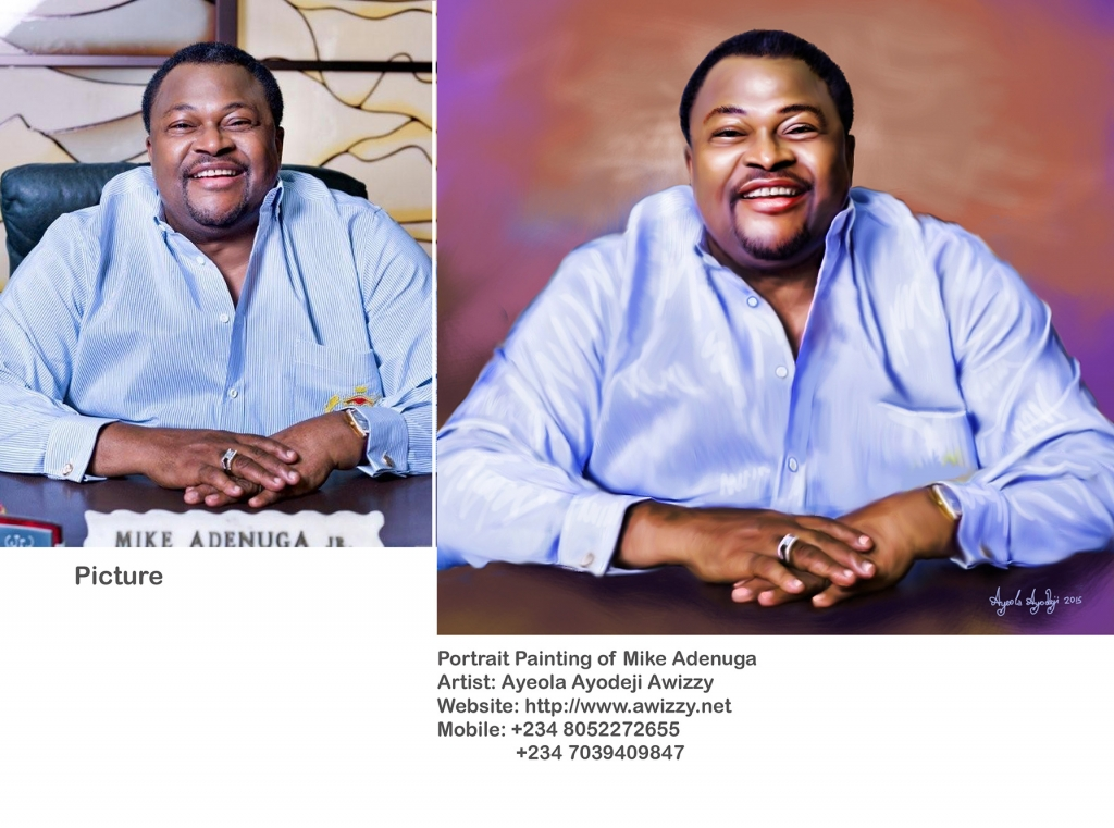 mike adenuga compare with picture ayeola ayodeji 1024x761 Mike Adenuga portrait painting by Ayeola Ayodeji