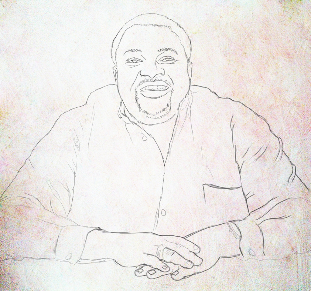 mike adenuga portrait stage 1 1024x960 Mike Adenuga portrait painting by Ayeola Ayodeji