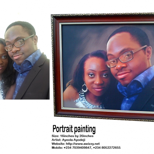 tosin olaye and udo portrait painting by ayeola ayodeji awizzy  500x500 where to buy painting online in lekki nigeria