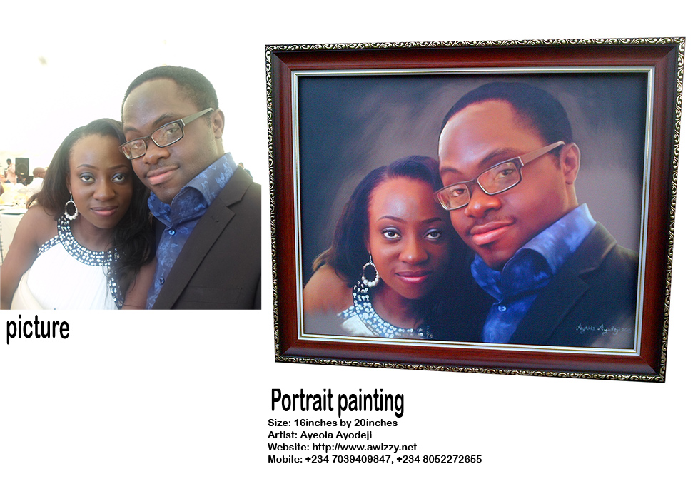 tosin olaye and udo portrait painting by ayeola ayodeji awizzy  No 1 artist in lagos nigeria