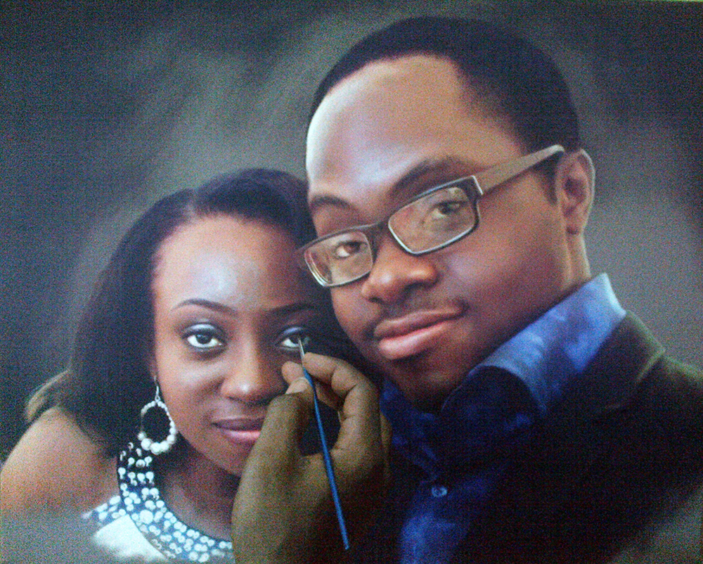 tosin olaye and udo portrait painting by ayeola ayodeji awizzy making 1 Tosin Olaye and Udo Portrait Painting