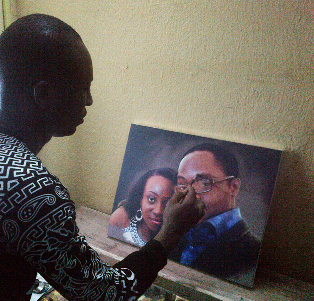 tosin olaye and udo portrait painting by ayeola ayodeji awizzy making Book 16inches by 20inches Portrait painting N35,000