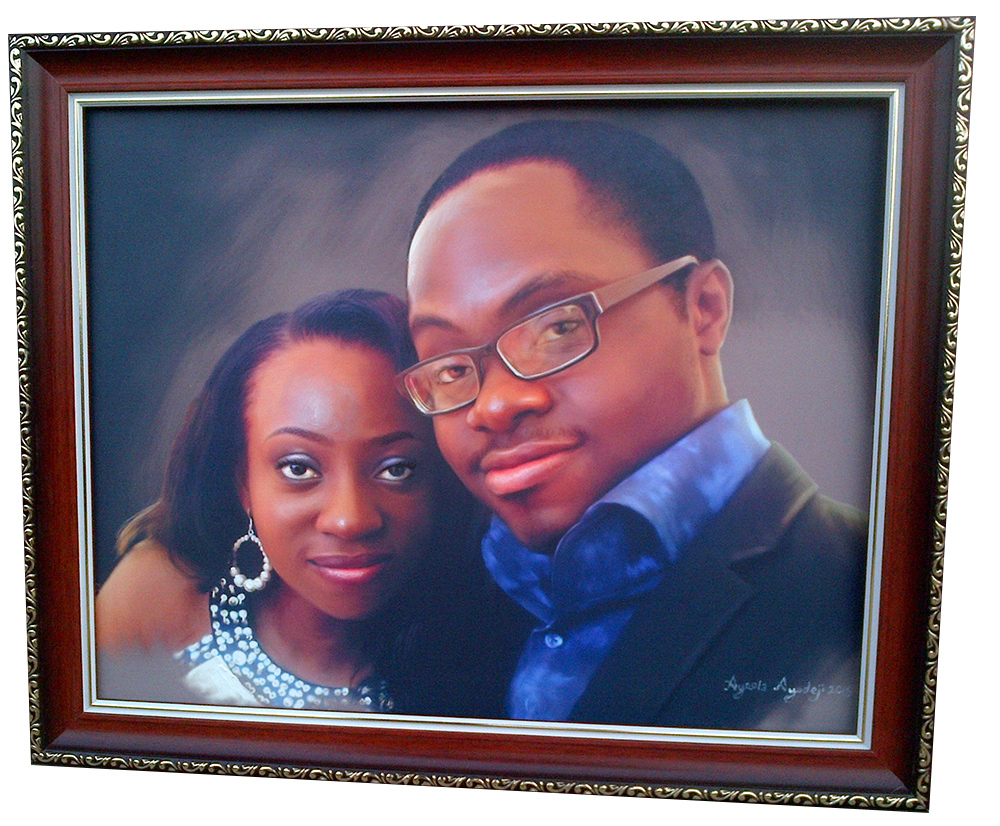 tosin olaye and udo portrait painting by ayeola ayodeji awizzy Tosin Olaye and Udo Portrait Painting