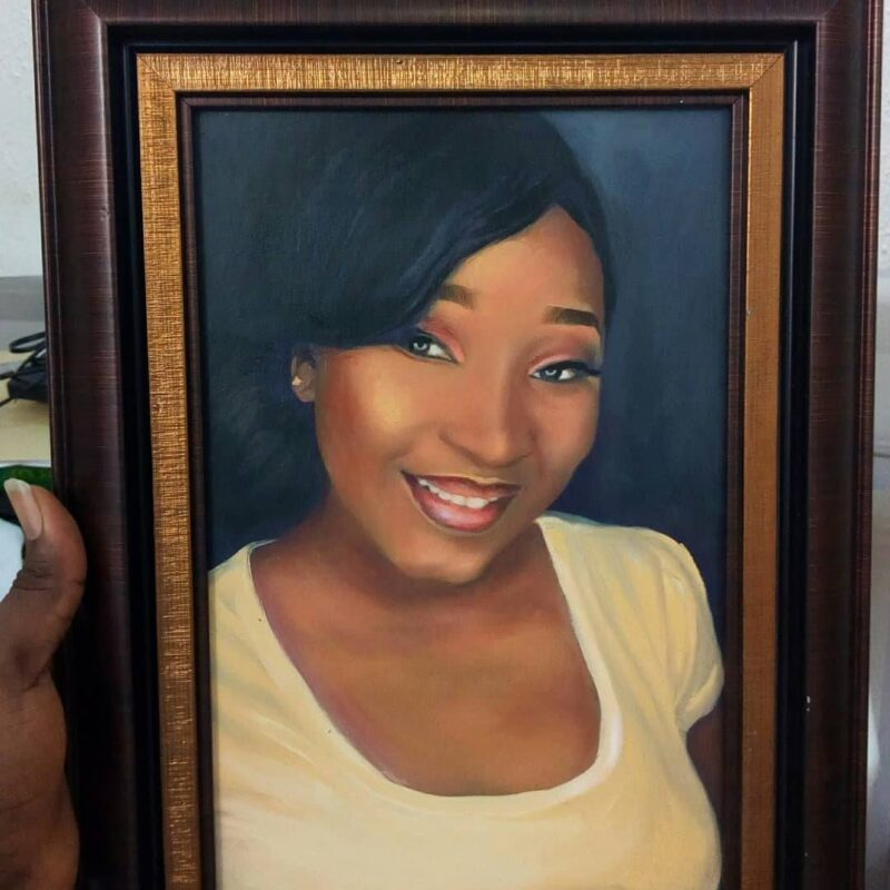 size 8 x 12inches portrait painting by artist ayeola ayodeji