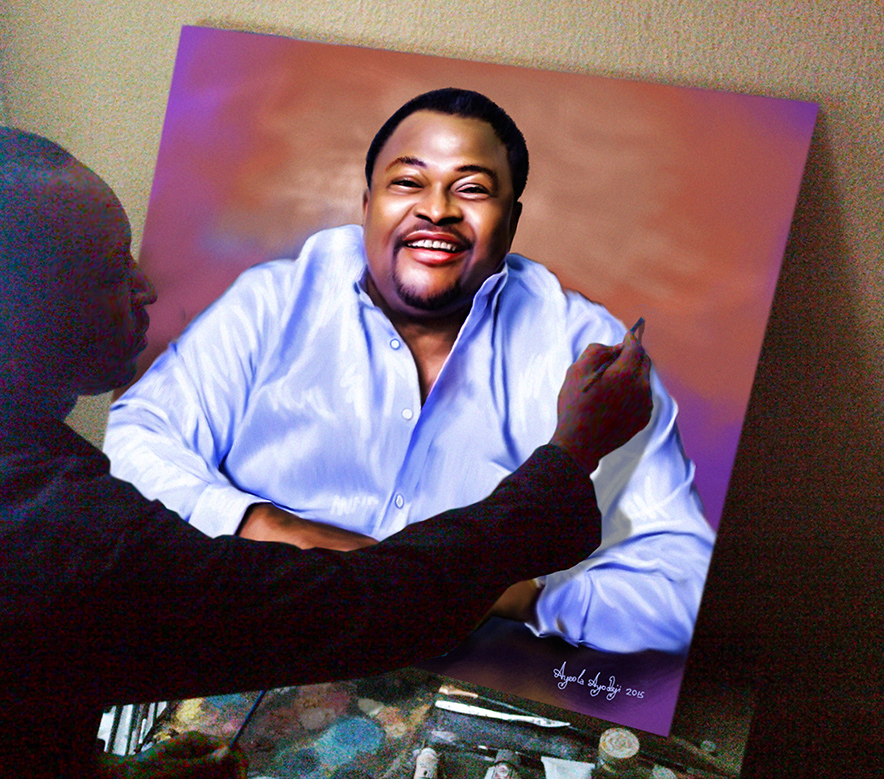 ayeola ayodeji painting mike adenuga of globacom  Mike Adenuga portrait painting by Ayeola Ayodeji