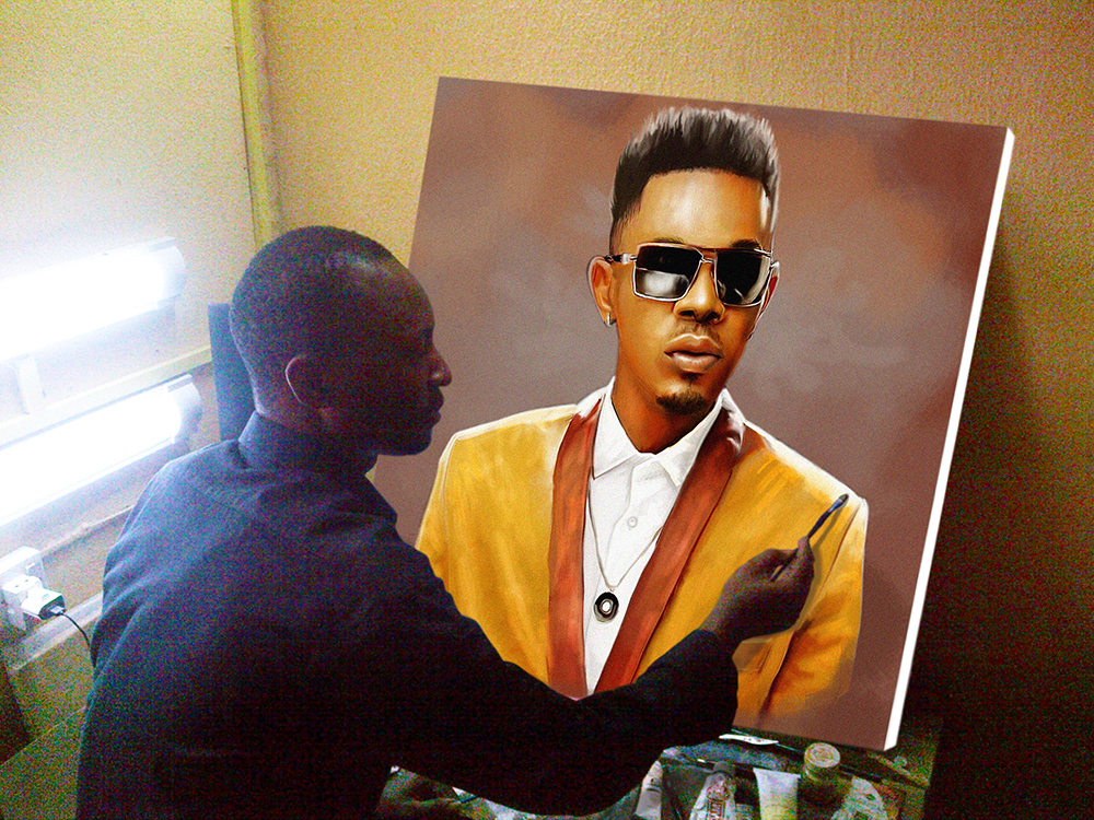 ayodeji ayeola painting patoranking 30 by 32inches portrait painting art best art website in Lagos, Abuja, Nigeria west Africa