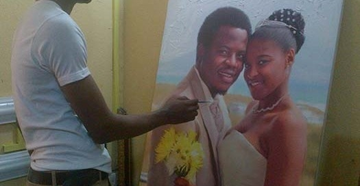 36 x 48 portrait painting of Shedrak amadi and wife on wedding day