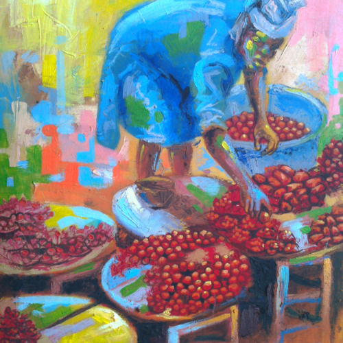 pepper market painting by artist ayeola ayodeji awizzy 500x500 Book 36inches by 48inches portrait painting N100,000