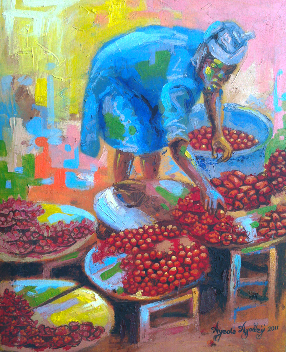 pepper market painting by artist ayeola ayodeji awizzy Home