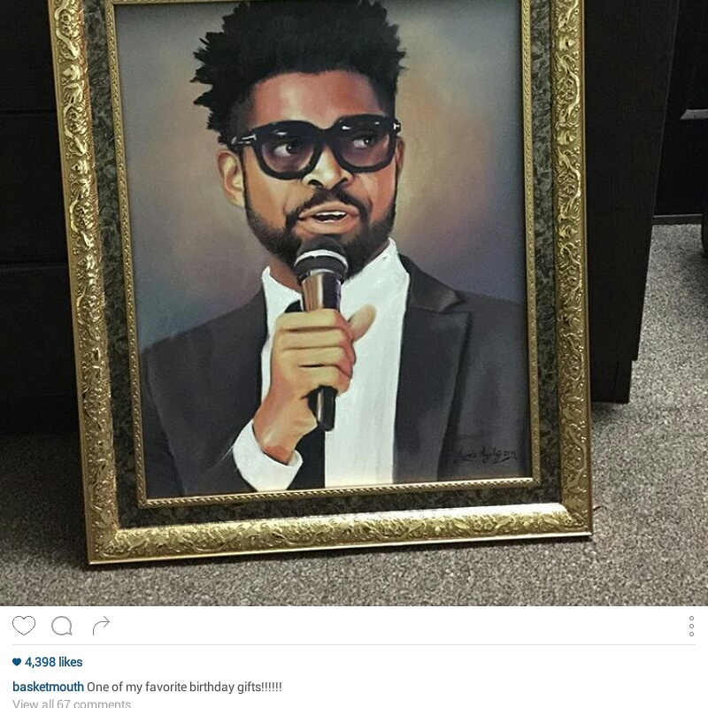 basketmouth loves his painting done by ayeola ayodeji Basketmouth wall art portrait painting on his 37th Birthday