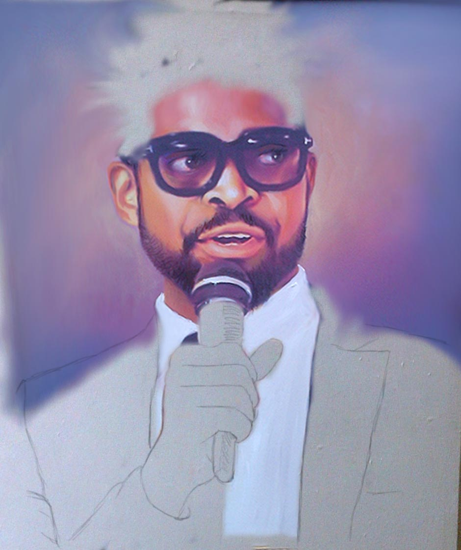 basketmouth painting in the making Basketmouth wall art portrait painting on his 37th Birthday