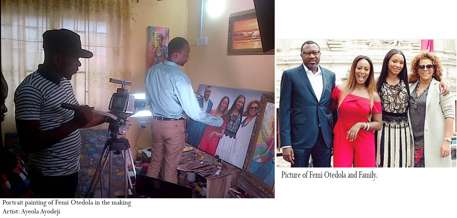 femi otedola and family painting by artist ayeola ayodeji Temi Otedola Portrait painting by Ayeola Ayodeji