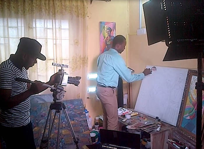 femi otedola family painting in da making Temi Otedola Portrait painting by Ayeola Ayodeji
