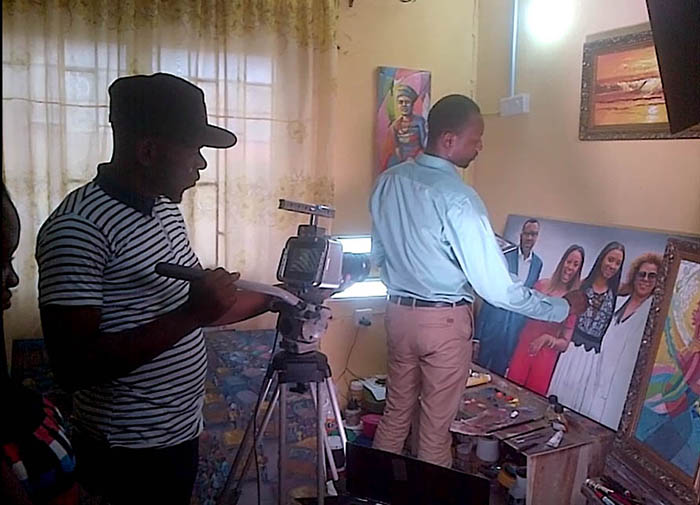 femi otedola family painting in the making Temi Otedola Portrait painting by Ayeola Ayodeji