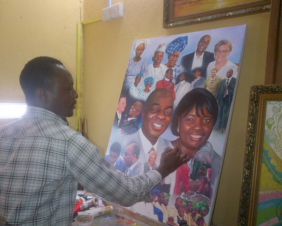 oyedopo painting 2 Bishop Oyedepo special moments portrait painting and special people in his life