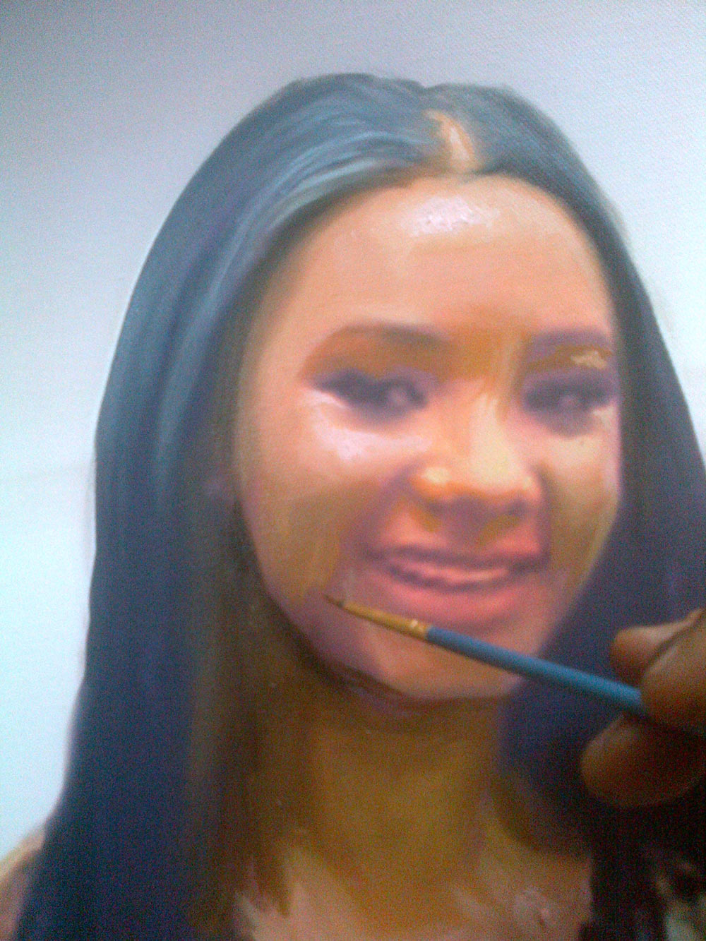 temi otedola portrait painting in the making by artist ayeola ayodeji abiodun No 1 artist in lagos nigeria