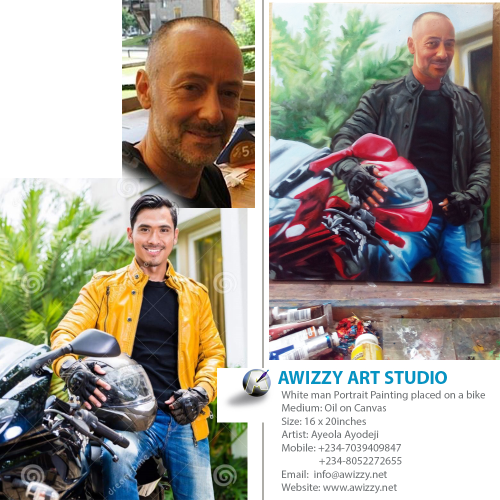 White man Portrait Painting placed on a bike where to buy painting online in lekki nigeria