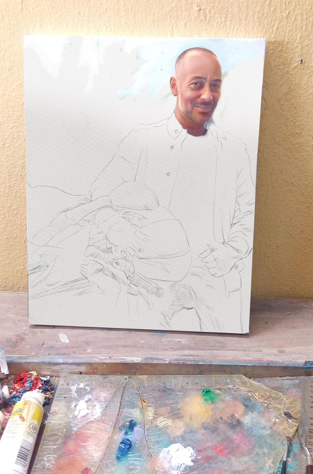 painting in progressIMG 20160314 000541 Realistic portrait painting of a white man I painted seating on a bike.
