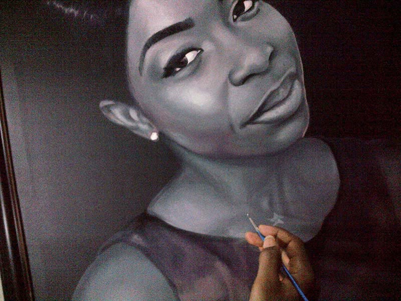 black and white portrait painting by ayodeji ayeola 1 Portrait painting