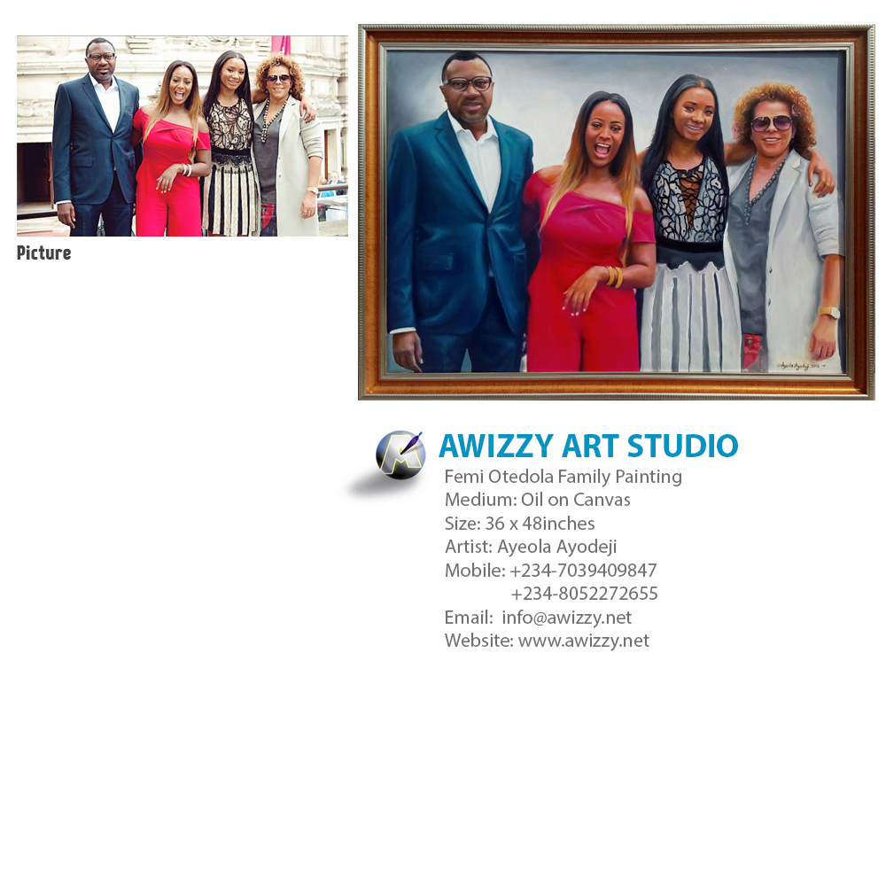 femi Otedola family painting Portrait painting