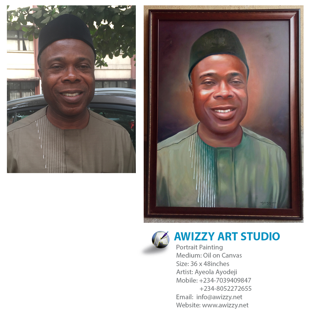 okoro uduka shell painting 30 x 42 Portrait painting