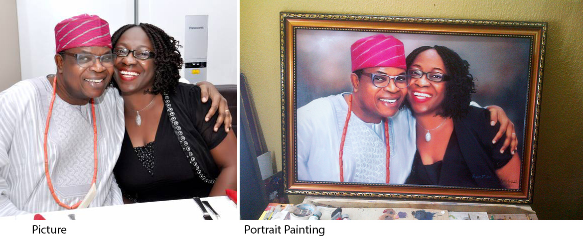 portrait painting mr and mrs obembe total couple Portrait painting