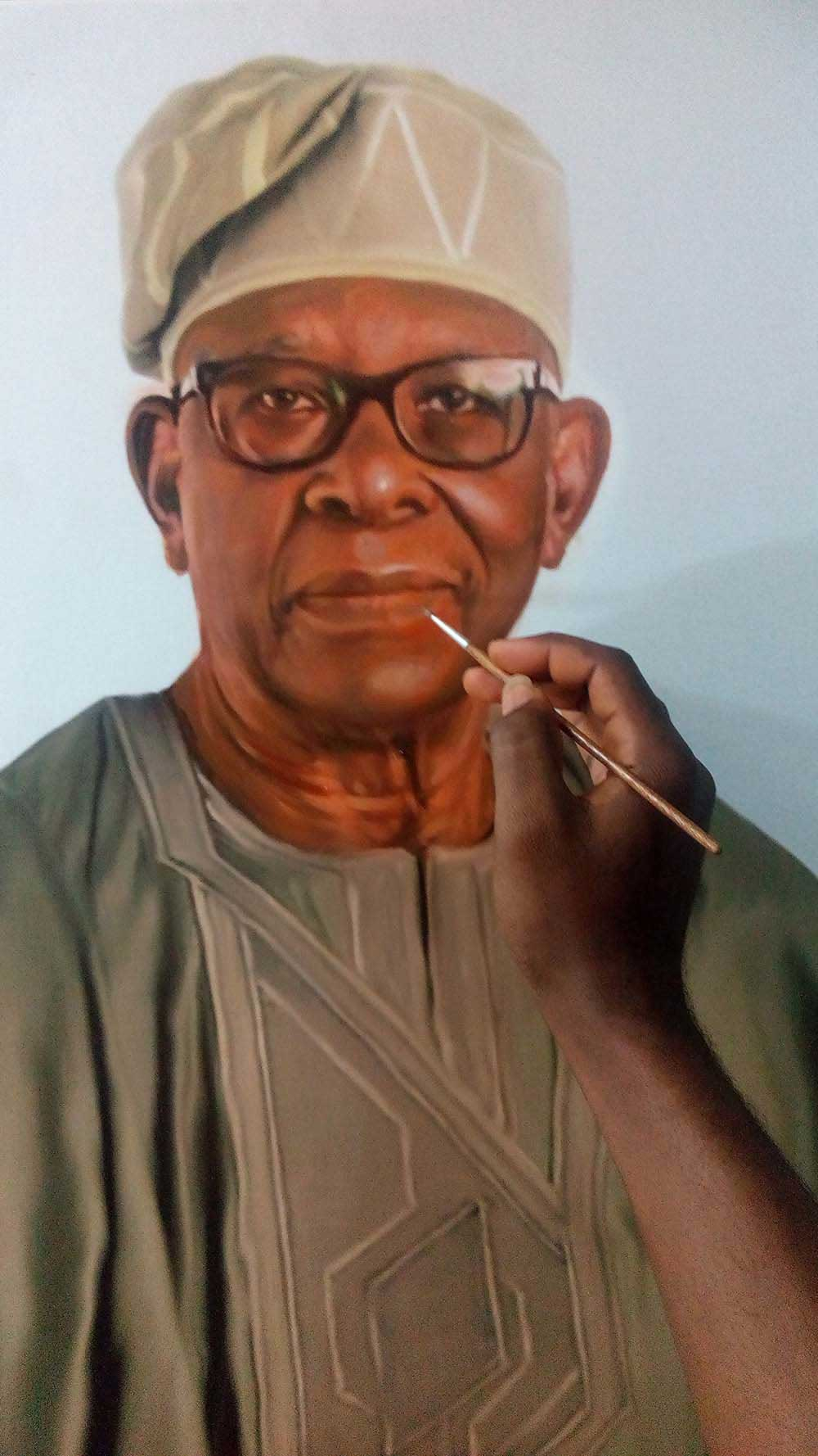 Chief Michael Ade Ojo portrati painting by Artist Ayeola Ayodeji