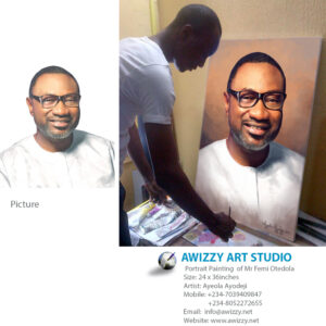femi otedola portrait painting 300x300 Realistic portrait painting of a white man I painted seating on a bike.