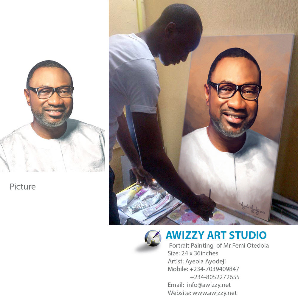 femi otedola portrait painting best artist in nigeria 2014